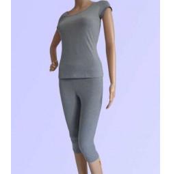 Bộ tập yoga áo có tay quần lửng ( màu xám mell )