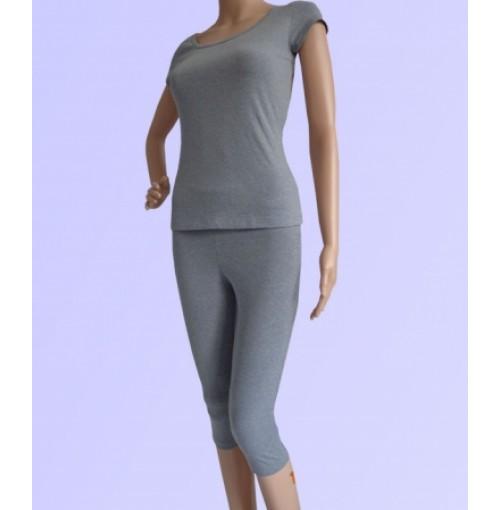 Bộ tập yoga áo có tay quần lửng ( màu xám mell szL)