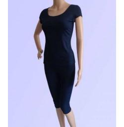 Bộ tập yoga áo có tay quần lửng ( màu xanh than )