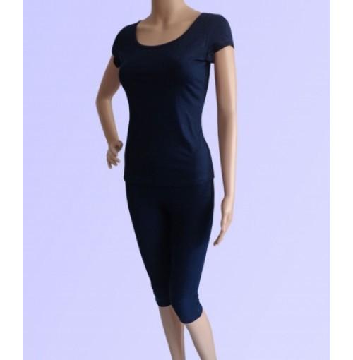 Bộ tập yoga áo có tay quần lửng ( màu xanh than szxl)