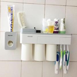 Giá treo bàn chải dính tường phòng tắm Mengni kèm 3 cốc hút nam châm và nhả kem đánh răng