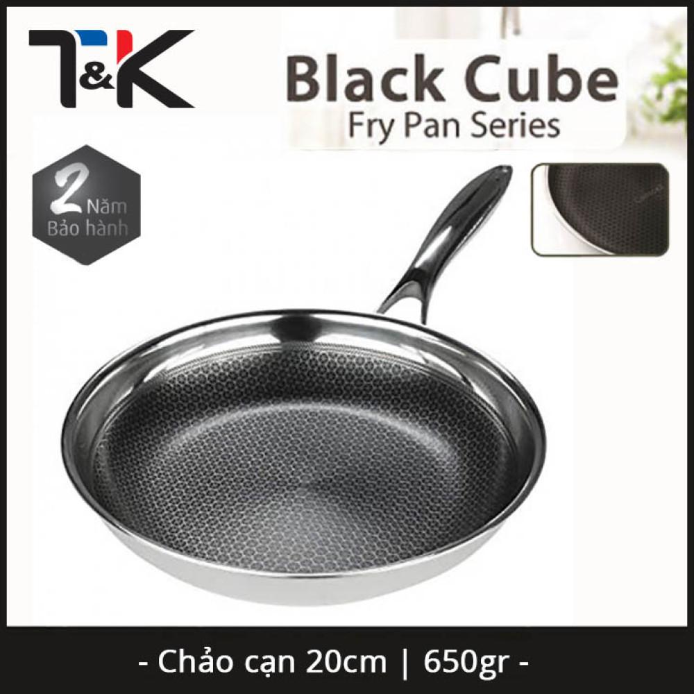 Chảo chống dính Inox 304 đường kính 20cm T&K Blackcube Hàn Quốc dùng bếp từ, bảo hàng 2 năm