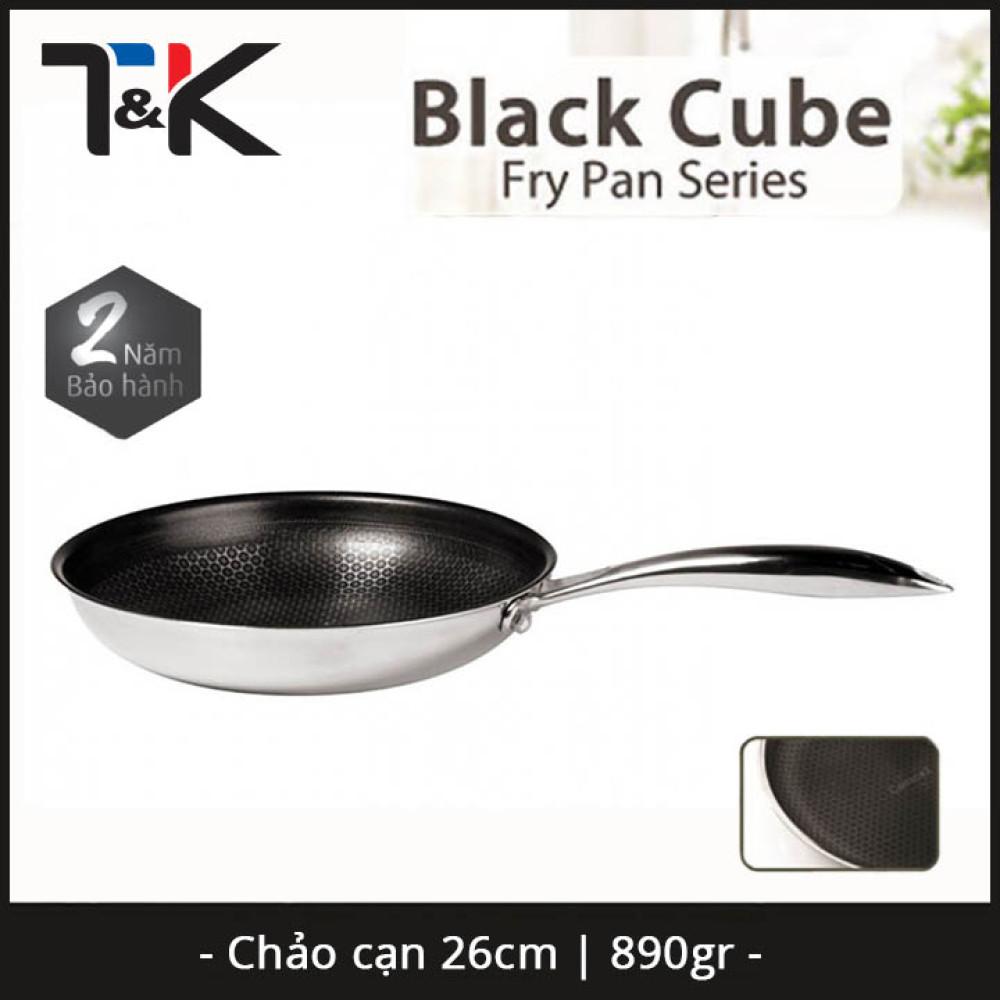 Chảo chống dính Inox 304 đường kính 26cm T&K Blackcube nhập khẩu Hàn Quốc dùng bếp từ, bảo hàng 2 năm