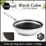 Chảo chống dính sâu lòng Inox 304 đường kính 26cm T&K Blackcube nhập khẩu Hàn Quốc dùng bếp từ, bảo hành 2 năm