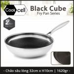 Chảo chống dính sâu lòng Inox 304 đường kính 32cm T&K Blackcube nhập khẩu dùng bếp từ, bảo hành 24 tháng