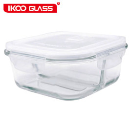 Hộp thủy tinh chịu nhiệt vuông chia 2 ngăn IKOO GLASS dung tích 800ml nắp hút chân không