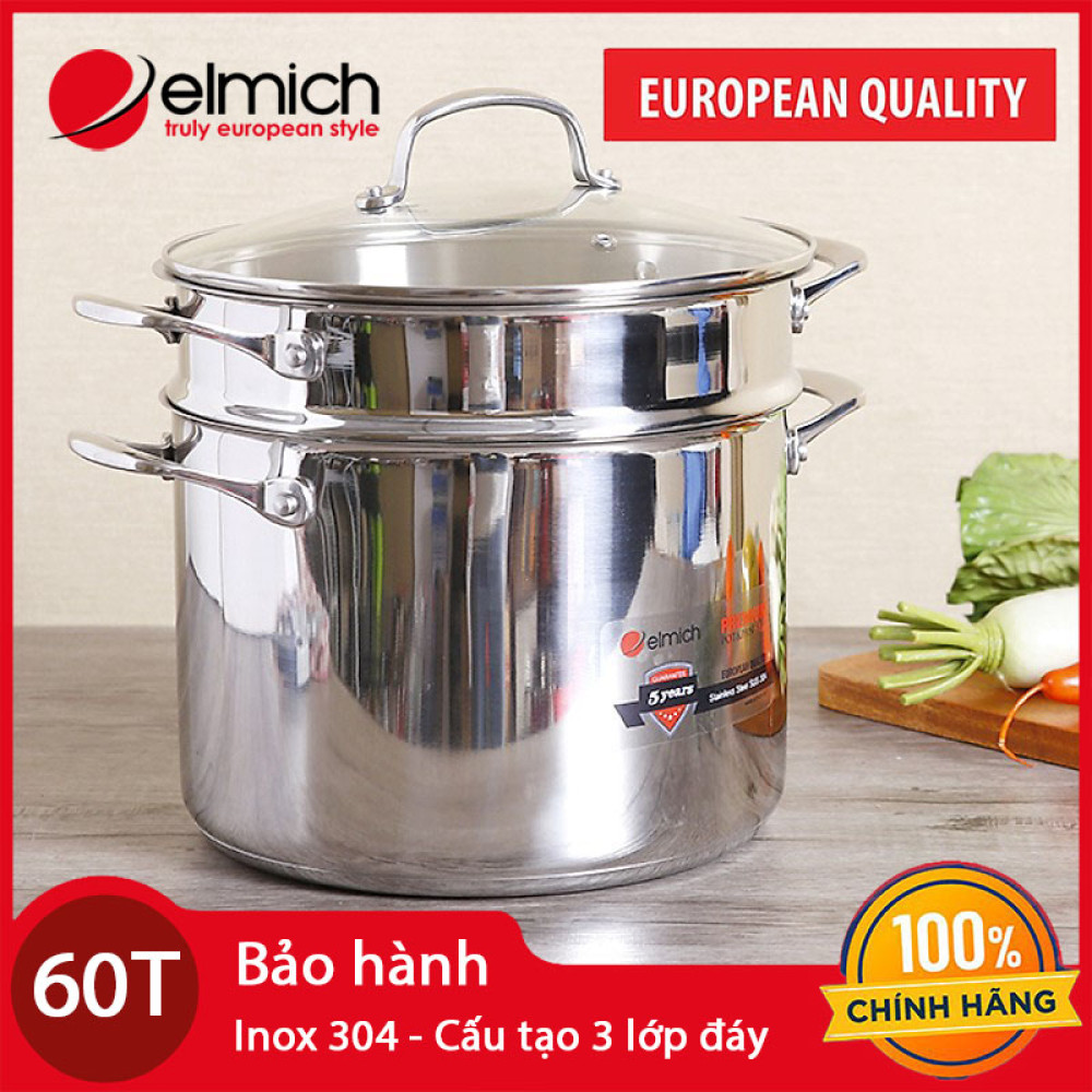 Bộ nồi xửng hấp Inox 304 Elmich Premium 24cm hàng chính hãng nhập khẩu, bảo hành 5 năm