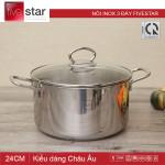 Nồi inox 3 đáy 24cm Fivestar FSN24IN1 nắp kính - Hàng chính hãng Tân Hợp Thành, bảo hành 5 năm