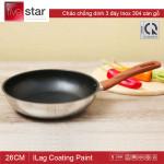Chảo chống dính Inox 304 3 đáy cán vân gỗ Fivestar đường kính 26cm - Hàng chính hãng, bảo hành 5 năm