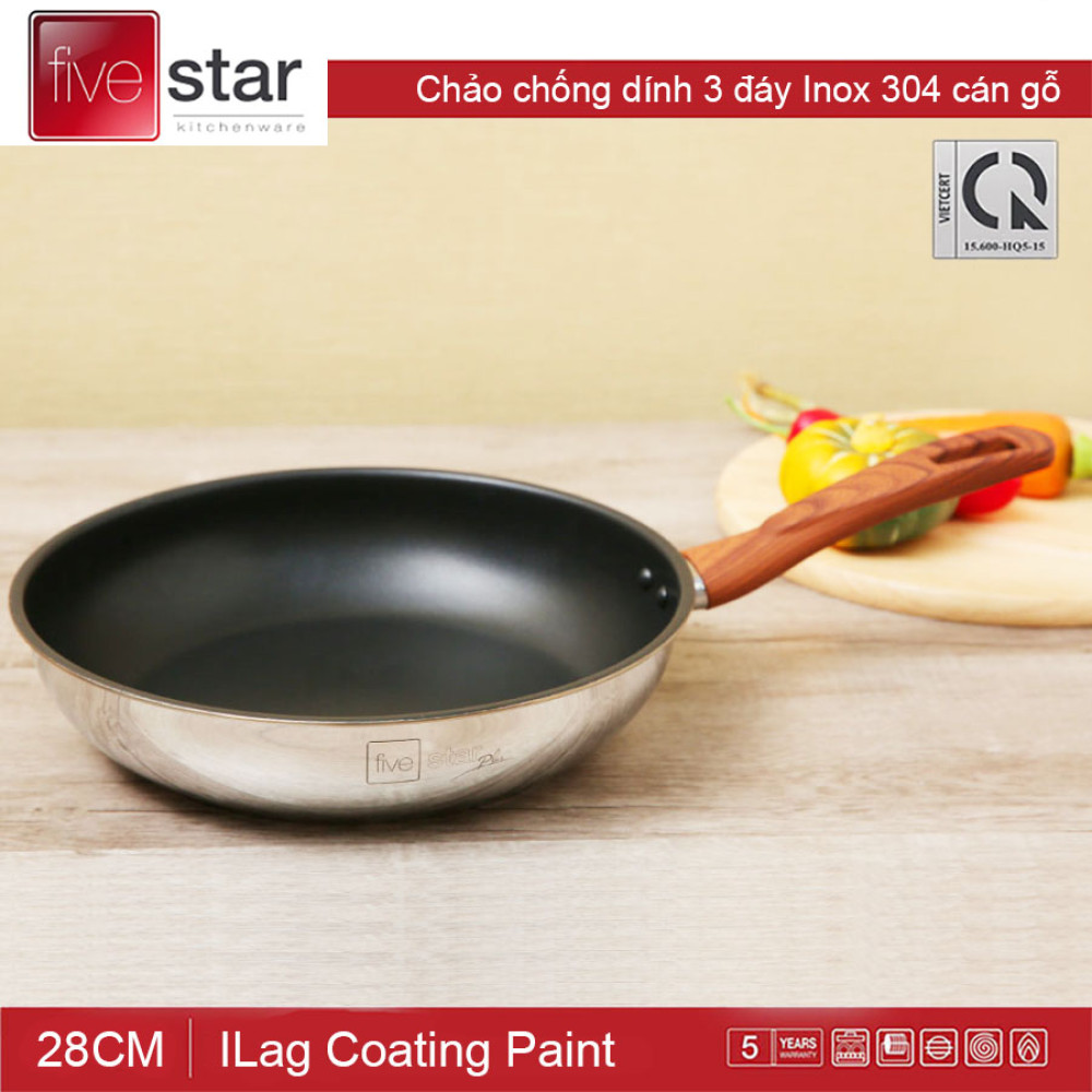 Chảo chống dính 3 đáy Inox 304 cán vân gỗ Fivestar đường kính 28cm - Hàng chính hãng, bảo hành 5 năm