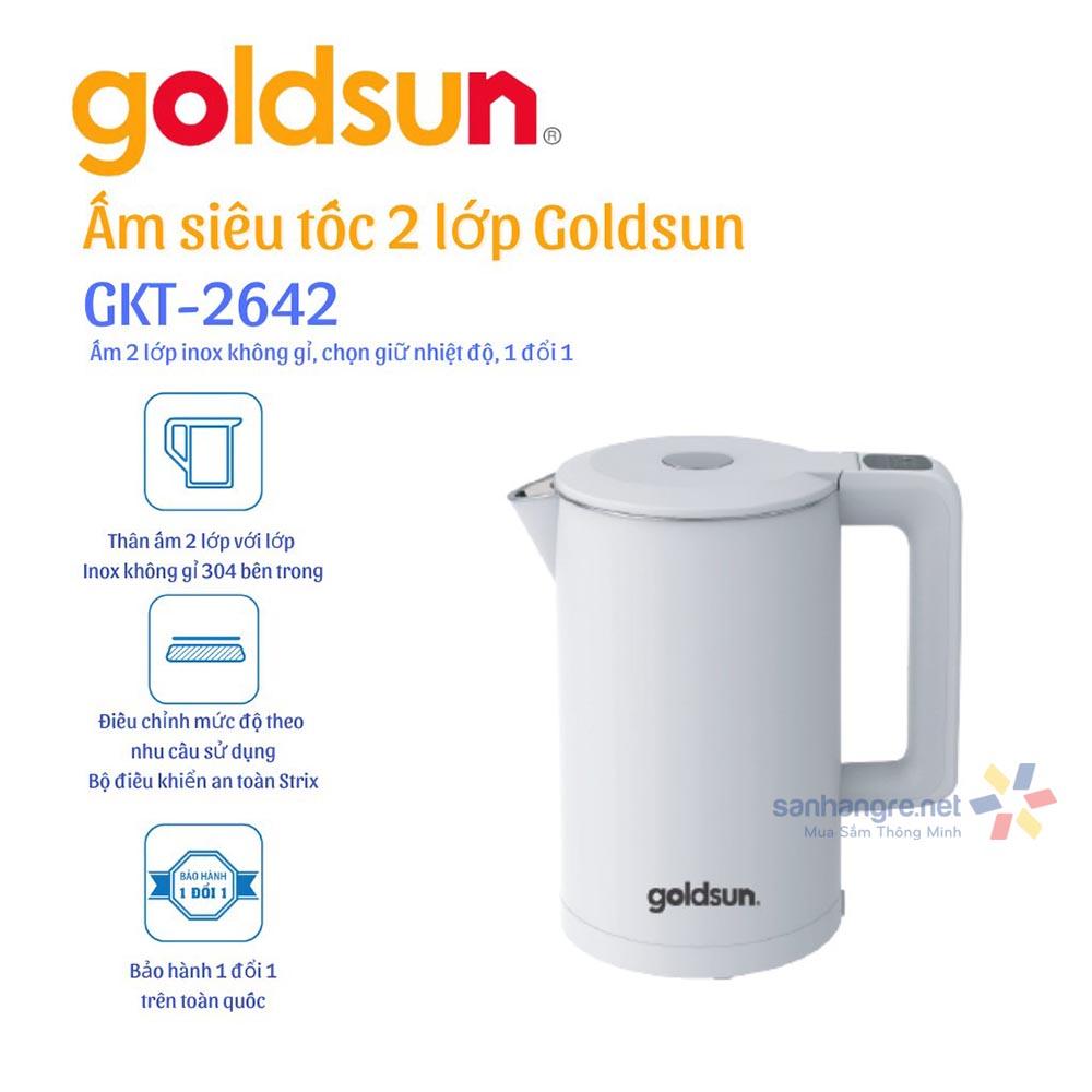 Ấm siêu tốc điều chỉnh nhiệt độ thông minh Goldsun GKT2642 dung tích 1.7 Lít bảo hành 12 tháng