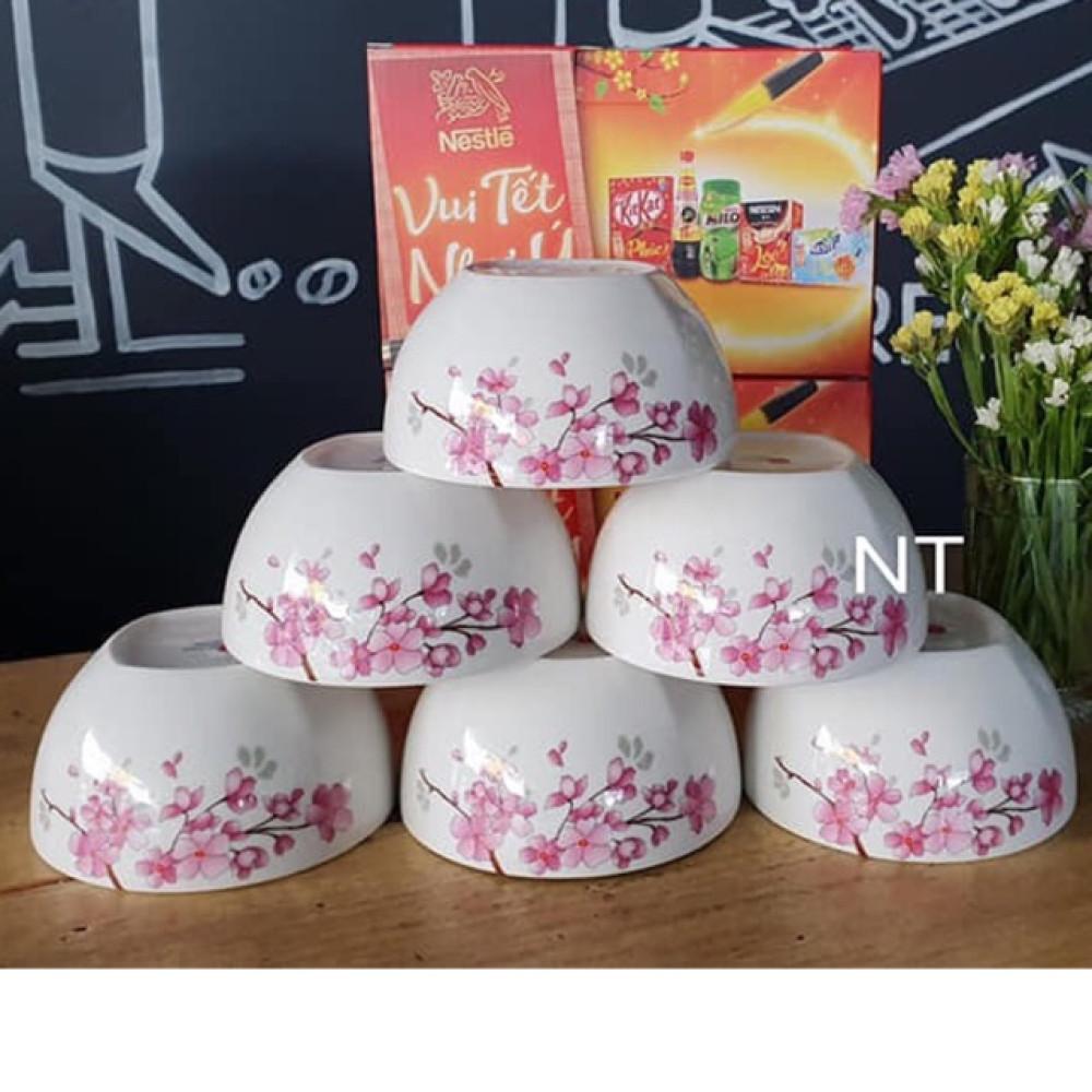 Bộ 6 bát sứ hoa đào cao cấp Dong Hwa