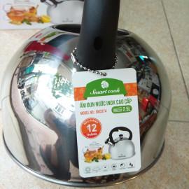 Ấm đun nước Inox 304 Elmich Smartcook 2.5L SM3374 hú còi sôi, dùng bếp từ bảo hành 12 tháng