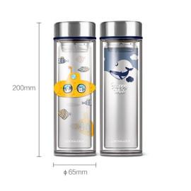 Bình lọc trà thủy tinh chịu nhiệt Lock&Lock LLG627YEL dung tích 320ml hoa tiết Tàu ngầm vàng
