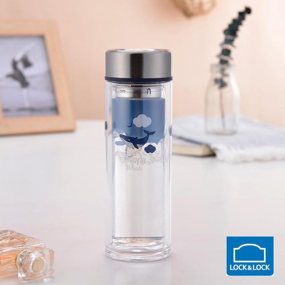 Bình lọc trà thủy tinh chịu nhiệt Lock&Lock LLG627BLU dung tích 320ml hoa tiết cá xanh