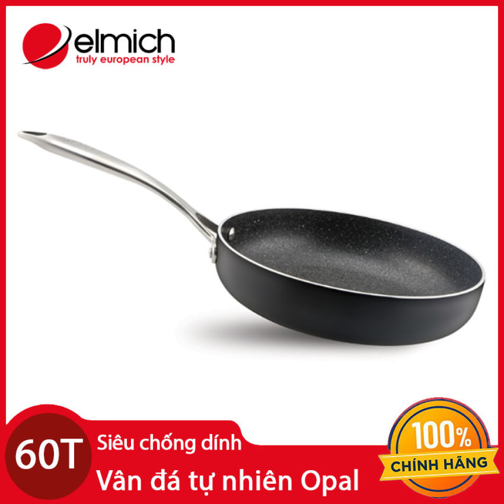 Chảo vân đá tự nhiên chống dính Elmich Opal EL-3808 đường kính 28cm bảo hàng 5 năm