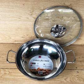 Chảo lẩu inox 3 đáy Fivestar đường kính 32cm vung kính - Hàng chính hãng, bảo hành 5 năm