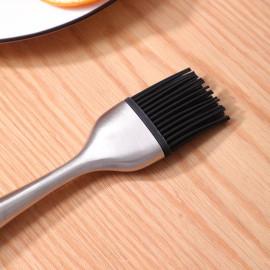 Chổi silicon quét dầu đồ nướng tay cầm thép hàng Nhật Komeki KMK-4140 dài 21cm - Tặng kèm 1 đầu chổi