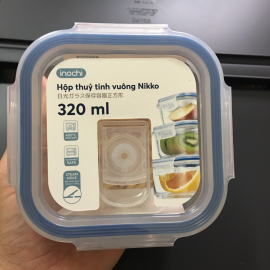 Hộp thuỷ tinh vuông cao cấp kháng khuẩn đựng thực phẩm Inochi Nikko 320ml