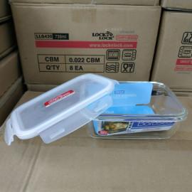 Bộ 3 hộp thuỷ tinh hình chữ nhật dung tích 730ml Lock&Lock Boroseal LLG430