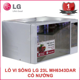 Lò vi sóng điện tử 23L có nướng LG MH6343DAR công suất 1200W - Hàng chính hãng, bảo hành 12 tháng