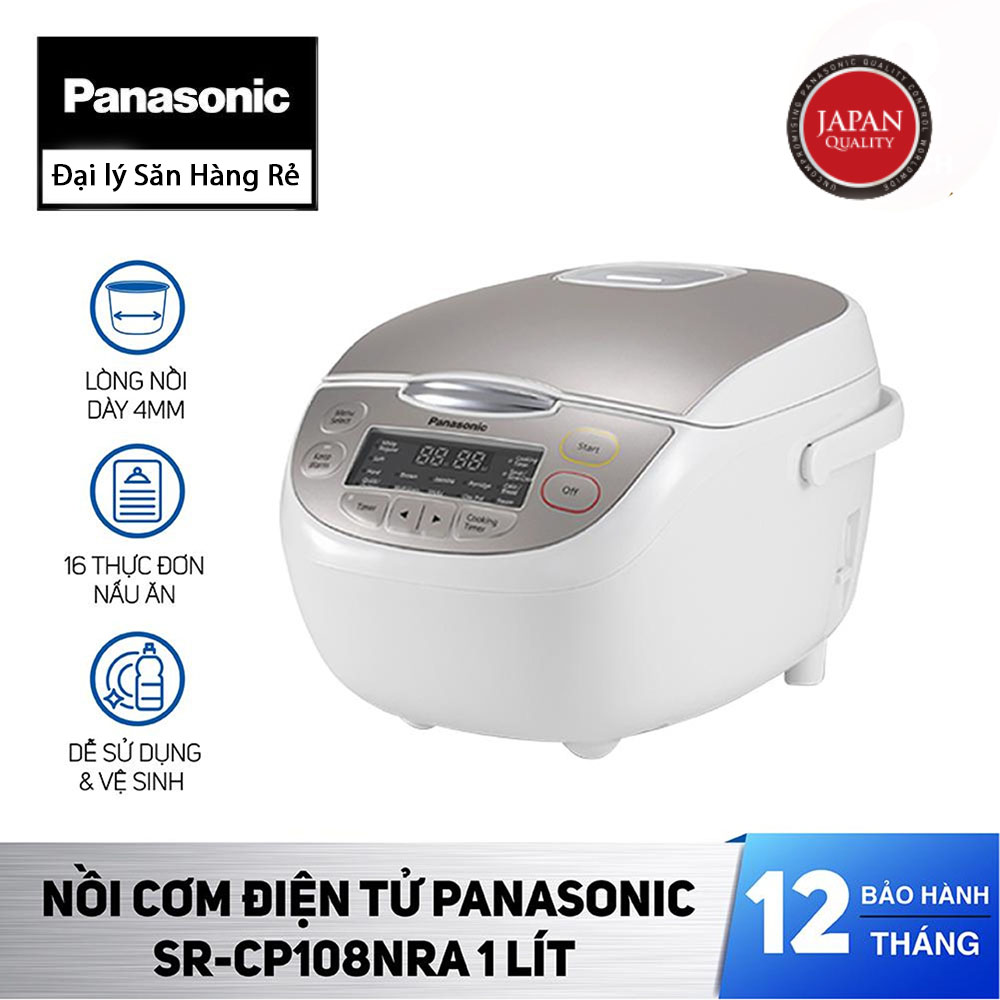 Nồi cơm điện tử dung tích 1 lít Panasonic Nhật Bản SR-CP108NRA sản xuất Malaysia - Hàng chính hãng, bảo hành 12 tháng