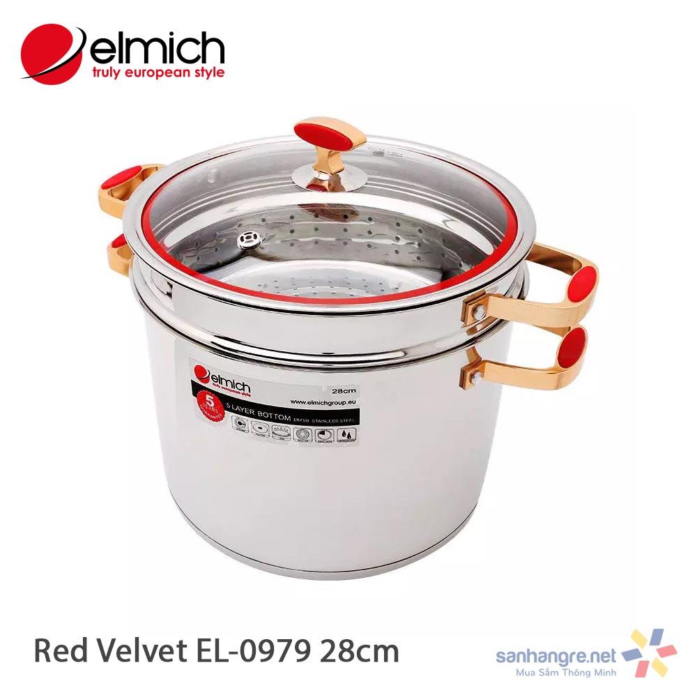Bộ nồi xửng hấp Elmich inox 304 Red Velvet 28cm EL0979 hàng chính hãng, bảo hành 5 năm