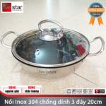Nồi Fivestar Inox 304 phủ men chống dính 3 lớp đáy 20cm FSN20IN005