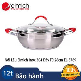 Nồi Lẩu Elmich Inox 304 Đáy Từ 28cm EL-5789 nhập khẩu chính hãng, bảo hành 60 tháng