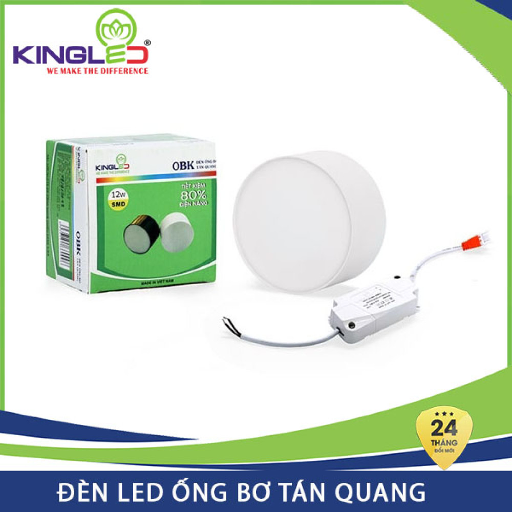 Đèn Led ống bơ tán quang Kingled 12W OBK-12 vỏ trắng, đổi mới 2 năm