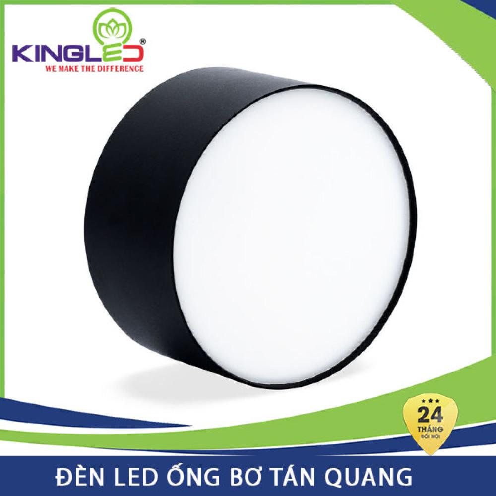 Đèn Led ống bơ tán quang Kingled 7W OBK-7 vỏ đen, bảo hành 24 tháng