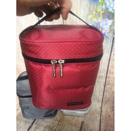 Bộ túi giữ nhiệt và 3 hộp thủy tinh chịu nhiệt Lock&Lock Oven Glass LLG422S4DR màu đỏ - Hàng chính hãng