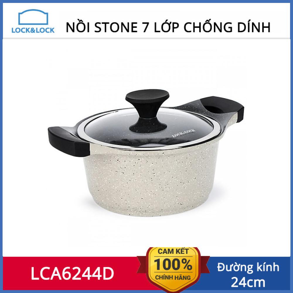 Nồi đá 7 lớp cao cấp 24cm Lock&lock Stone LCA6244D dùng bếp từ hàng chinh hãng