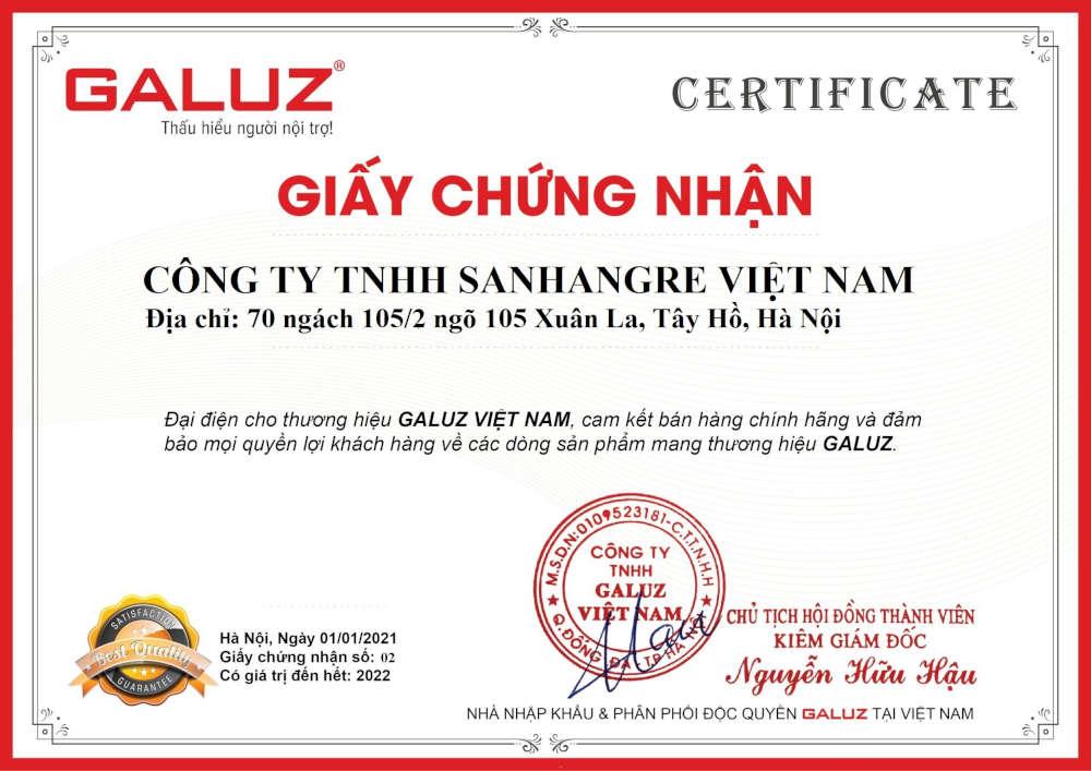 Chứng nhận Phân phối chính hãng Galuz