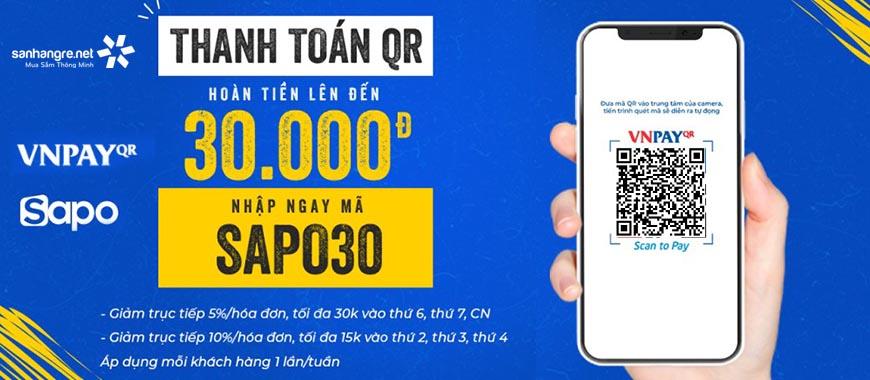 Ưu đãi hoàn tiền tới 10% khi quét mã VNPAY-QR tại Săn Hàng Rẻ mừng Sapo kết hợp cổng VNPAY