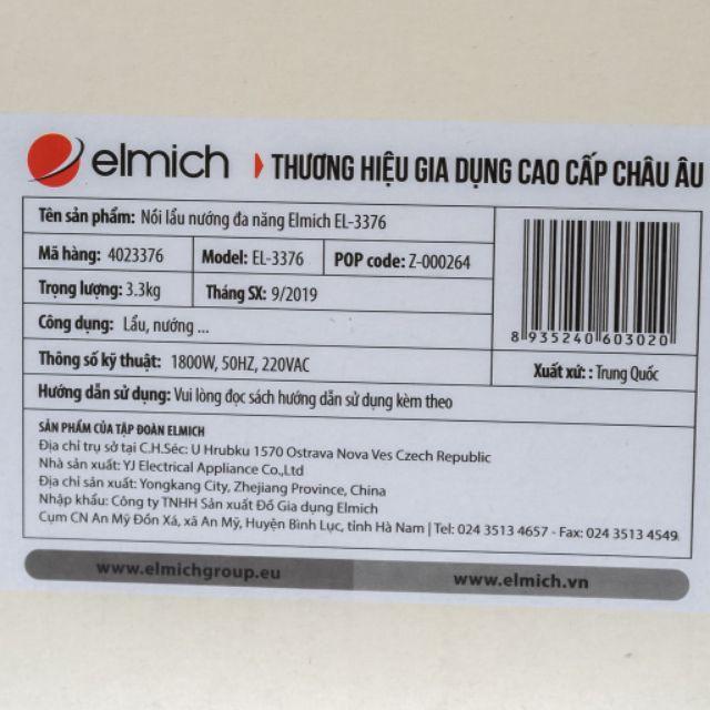 Nồi lẩu nướng đa năng 1.8 lít 1800W Elmich EL-3376 Hàng chính hãng