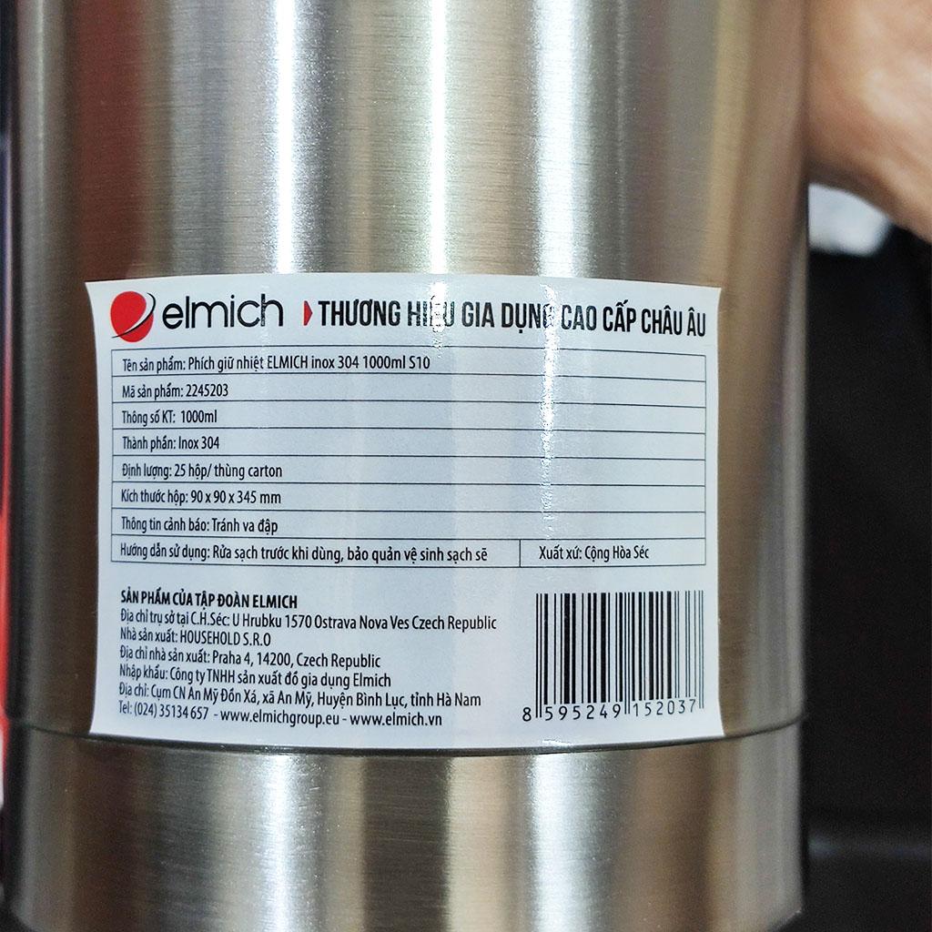 Bình giữ nhiệt 3 lớp Inox 304 Elmich 1000ml EL-5203 xuất xứ CH Séc