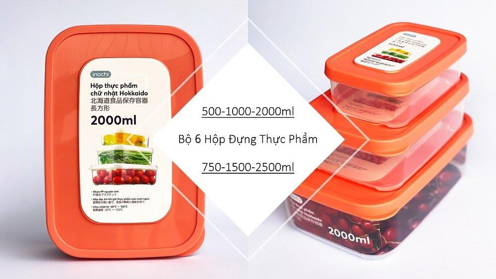Bộ 6 hộp đựng thực phẩm chữ nhật Inochi Hokkaido