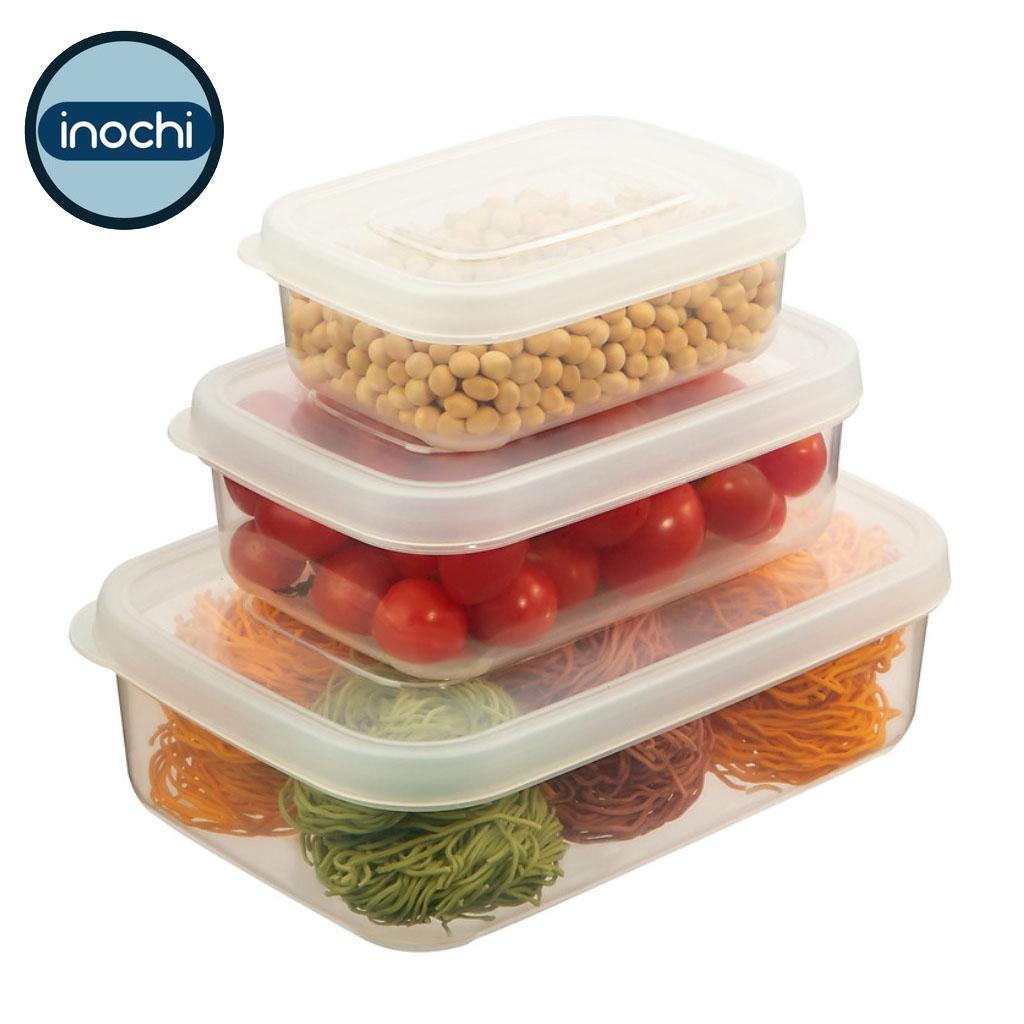 Bộ 3 hộp nhựa đựng thực phẩm chữ nhật cao cấp Inochi Hokkaido 500-1000-2000ml