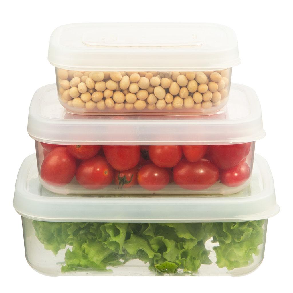 Bộ 3 hộp nhựa đựng thực phẩm chữ nhật cao cấp Inochi Hokkaido 750-1500-2500ml