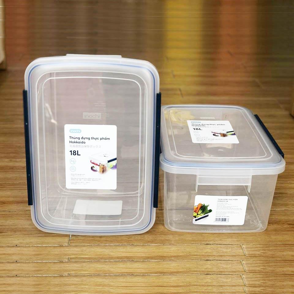 Thùng Đựng Thực Phẩm, Thức Ăn Bằng Nhựa Cao Cấp Hokkaido Inochi 18 Lít