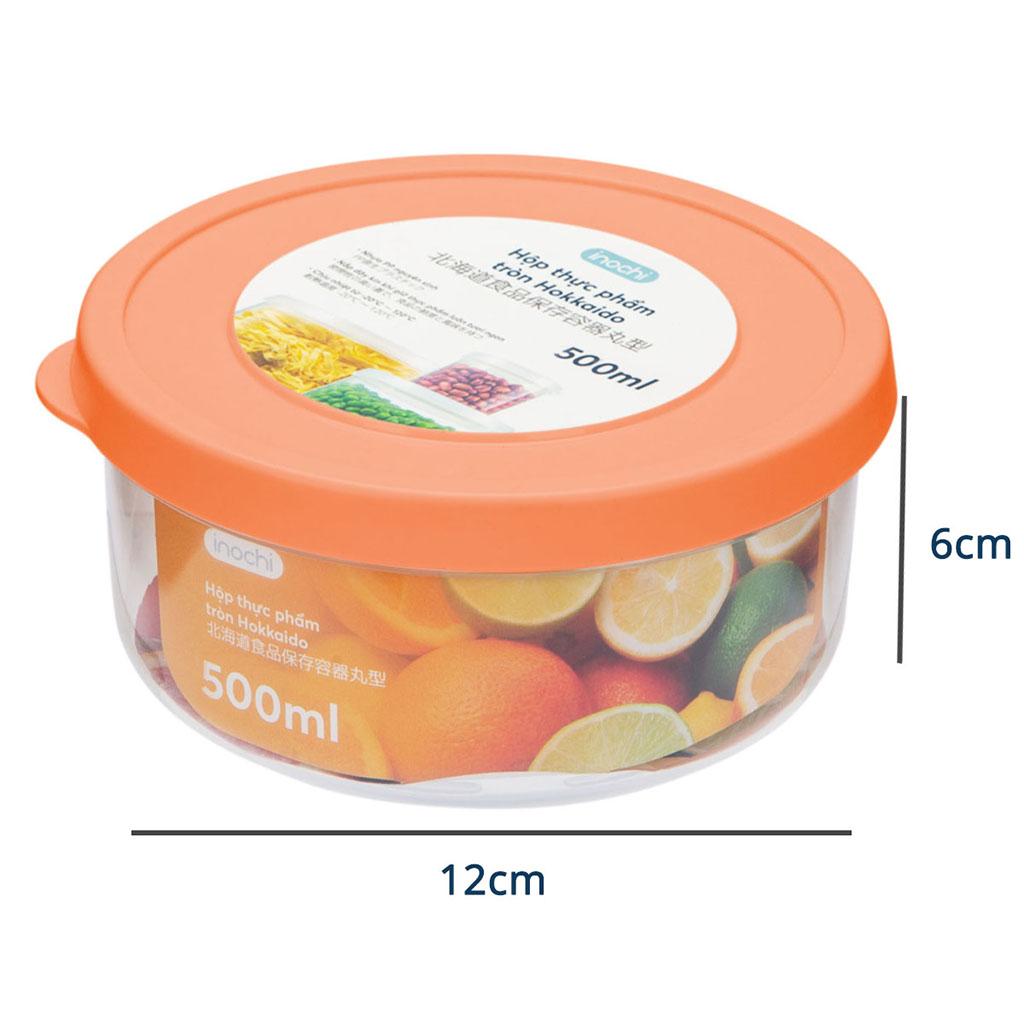 Hộp nhựa đựng thực phẩm tròn Hokkaido 500ml hàng xuất Nhật