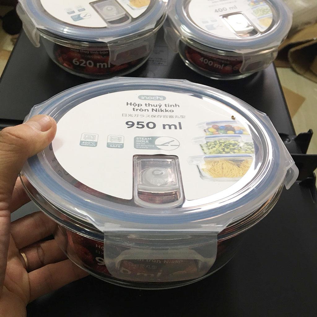Hộp thủy tinh tròn kháng khuẩn Inochi Nikko 950ml