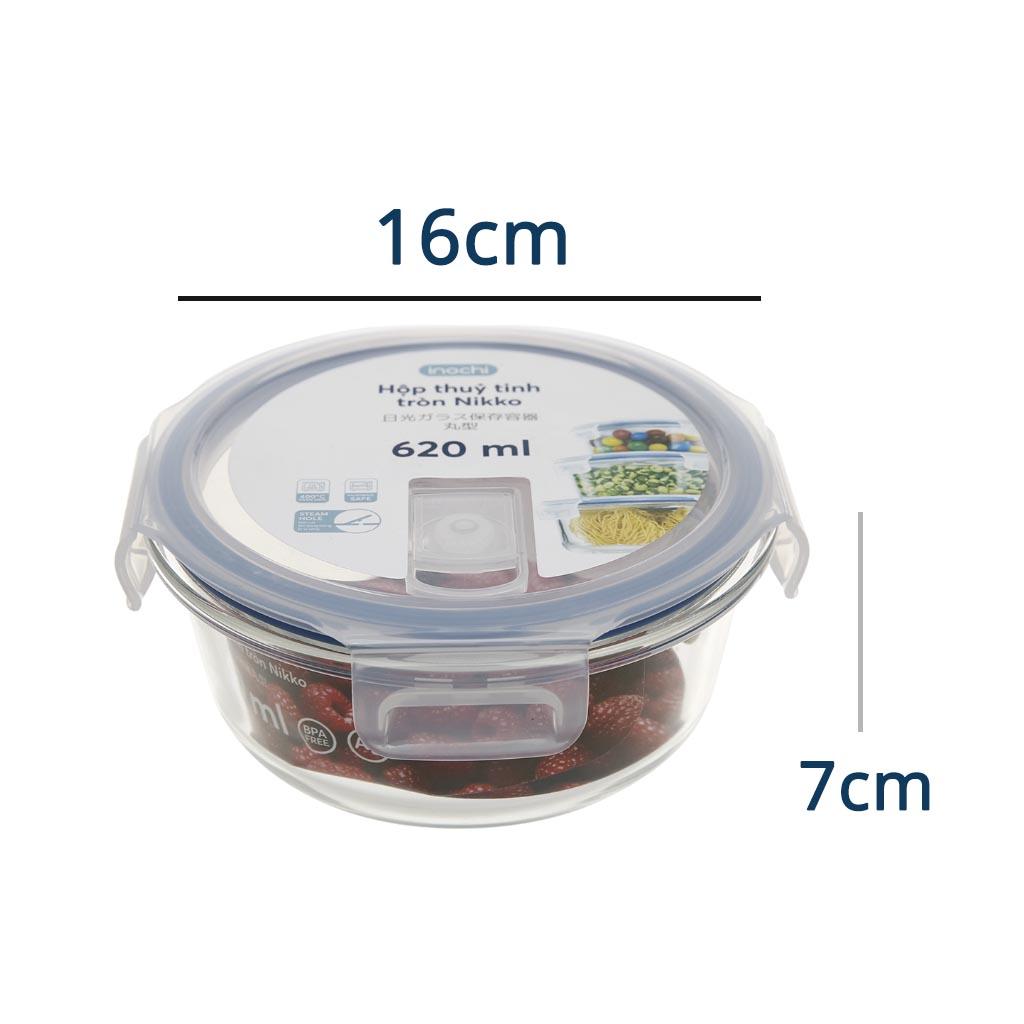 Hộp thuỷ tinh tròn kháng khuẩn đựng thực phẩm Inochi Nikko 620ml nắp hít chân không