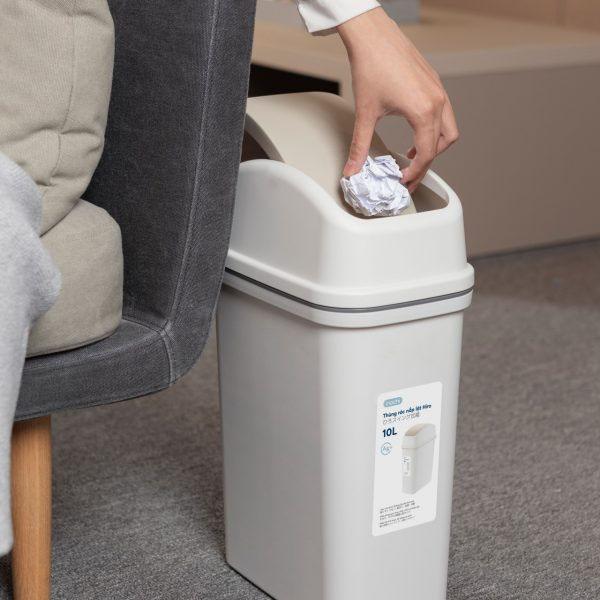 Thùng rác nắp lật xuất Nhật Inochi Hiro 10L IHNL-10