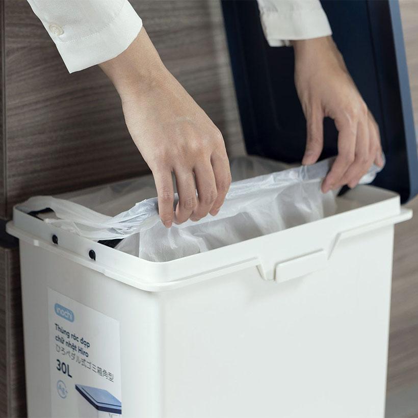 Thùng rác đạp chân chữ nhật Inochi Hiro 30L