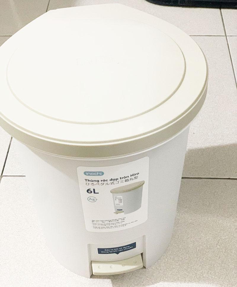 Thùng rác nhựa cao cấp đạp chân nắp đậy tròn Inochi Hiro 6 Lít hàng xuất Nhật Bản
