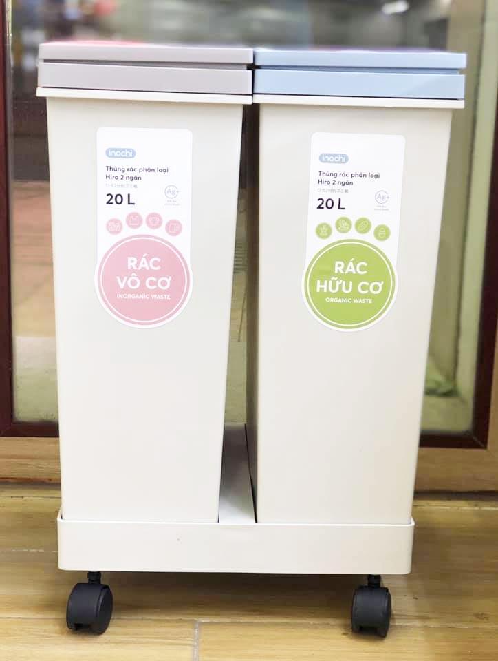 Thùng rác phân loại Inochi Hiro 2 ngăn
