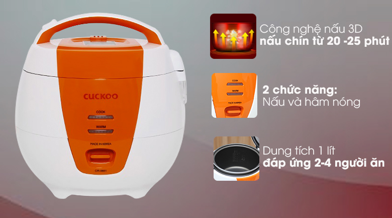 Nồi cơm điện nắp gài Cuckoo CR-0661 dung tích 1 lít sản xuất Hàn Quốc