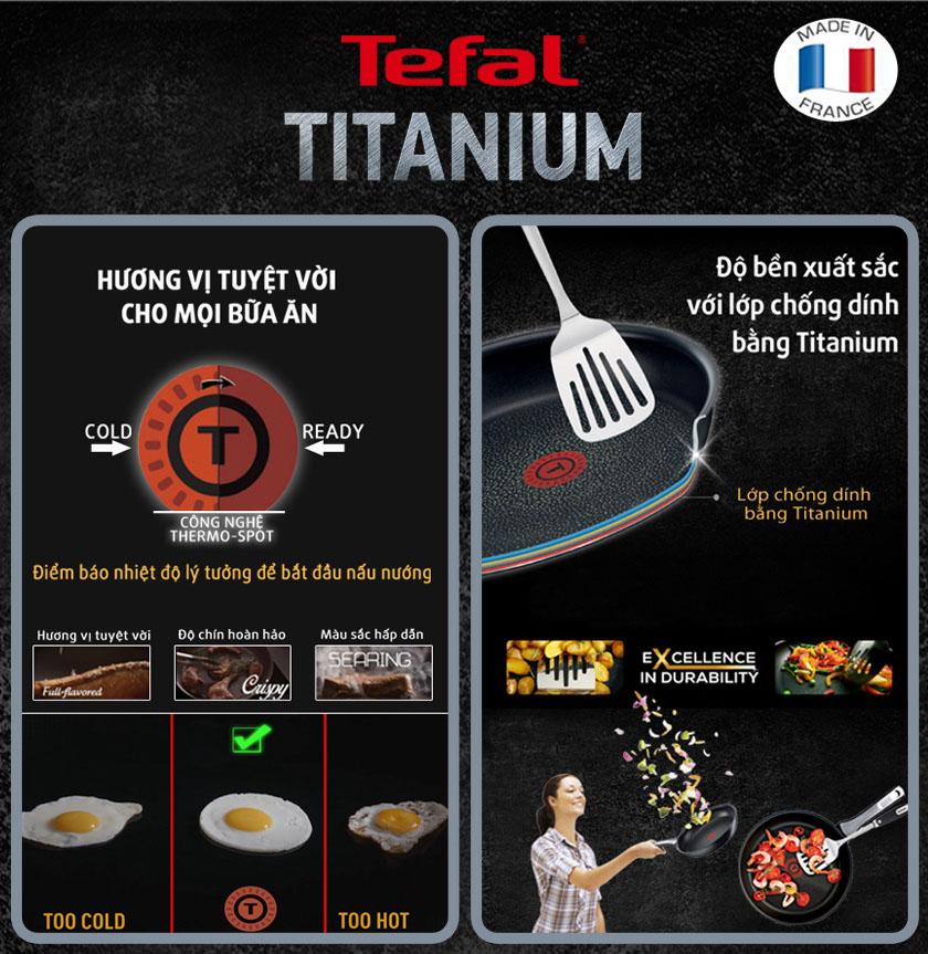 Chảo chống dính cao cấp 7 lớp Tefal Titanium Expertise nhập khẩu Pháp